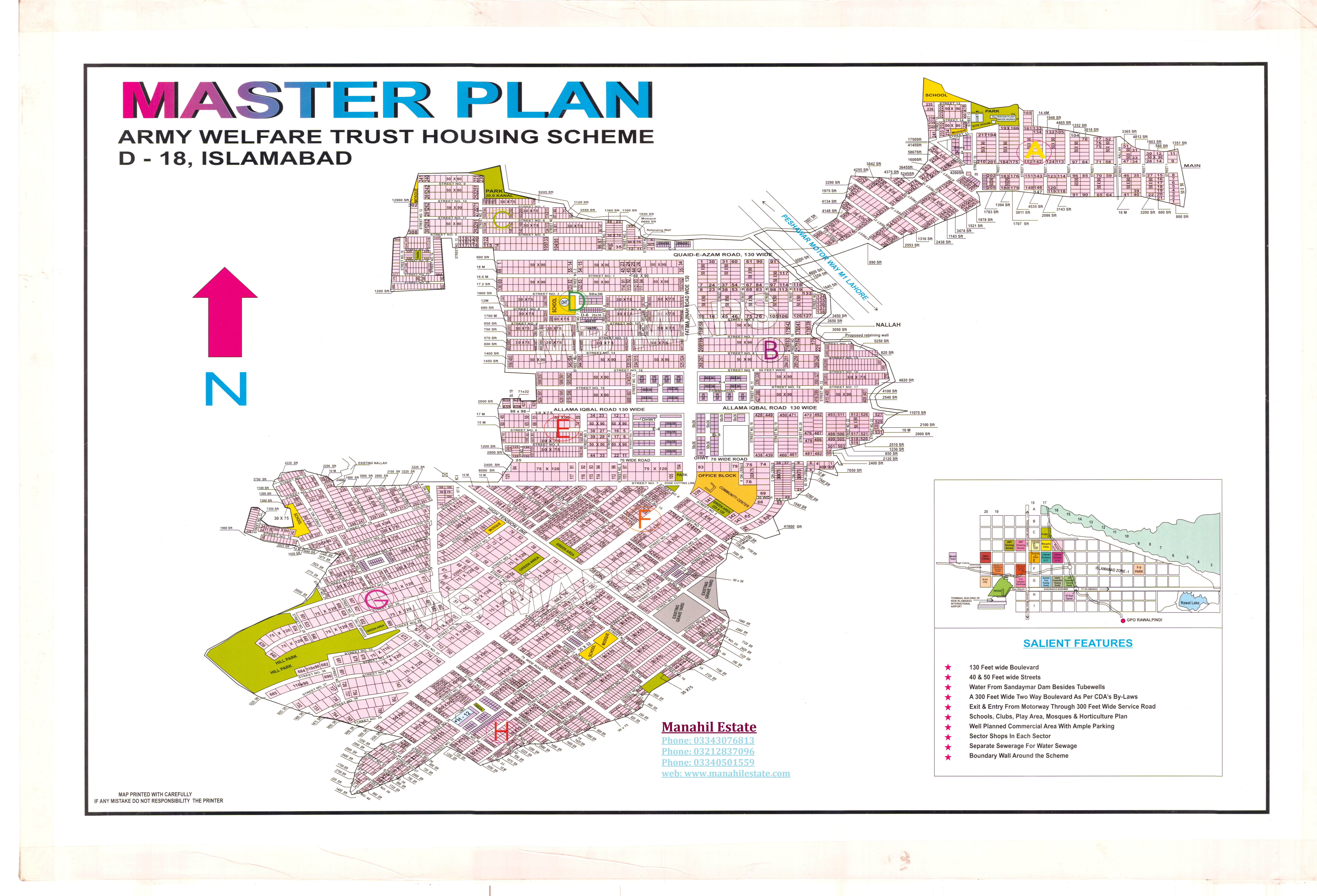 AWT D-18 Islamabad Map - Manahil Estate Map D on