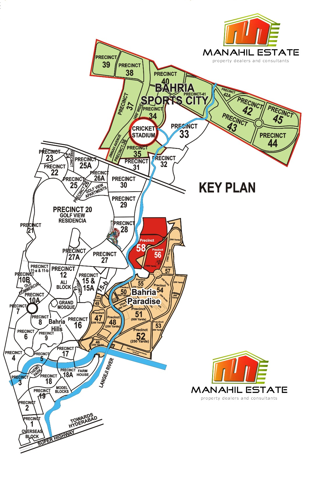 Bahria Paradise Karachi Precinct 58 Location and Map - Manahil Estate
